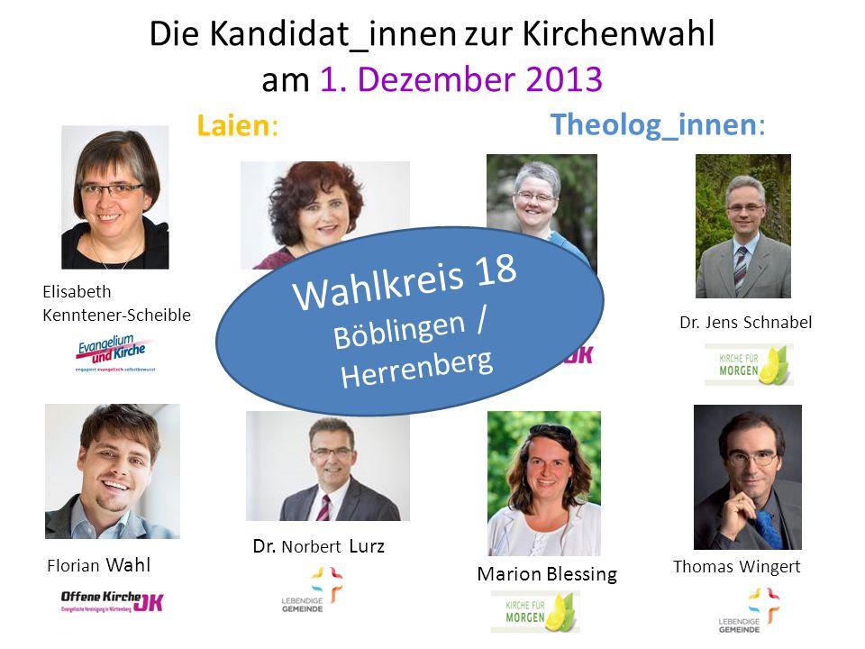 Die Kandidat_innen zur Kirchenwahl am 1. Dezember 2013 Gisela Dehlinger Tabea Doelker Elisabeth Kenntener-Scheible Dr. Norbert Lurz Dr. Jens Schnabel