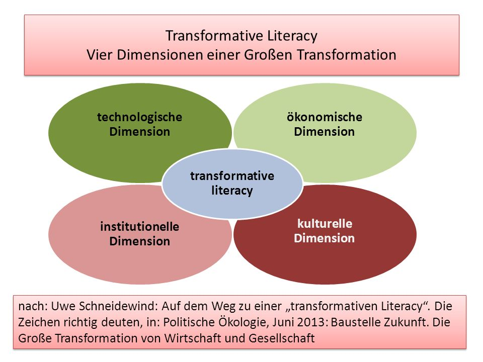 Transformative Literacy Vier Dimensionen einer Großen Transformation technologische Dimension ökonomische Dimension institutionelle Dimension kulturelle Dimension transformative literacy nach: Uwe Schneidewind: Auf dem Weg zu einer transformativen Literacy.
