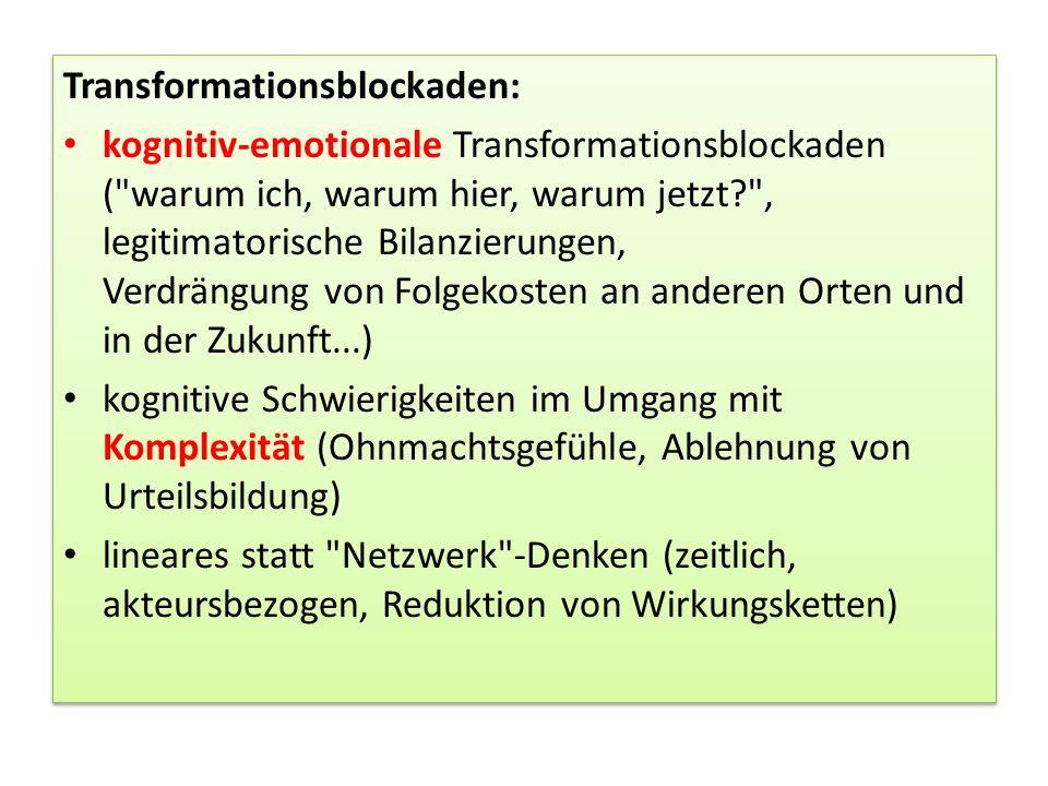 Transformationsblockaden: kognitiv-emotionale Transformationsblockaden (