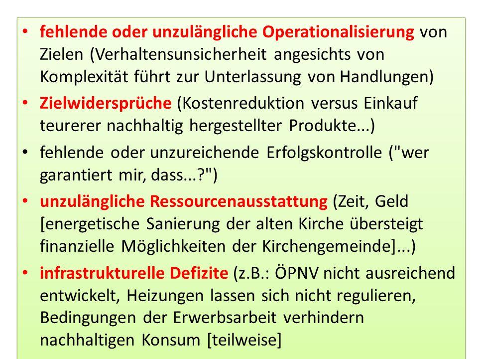 fehlende oder unzulängliche Operationalisierung von Zielen (Verhaltensunsicherheit angesichts von Komplexität führt zur Unterlassung von Handlungen) Z