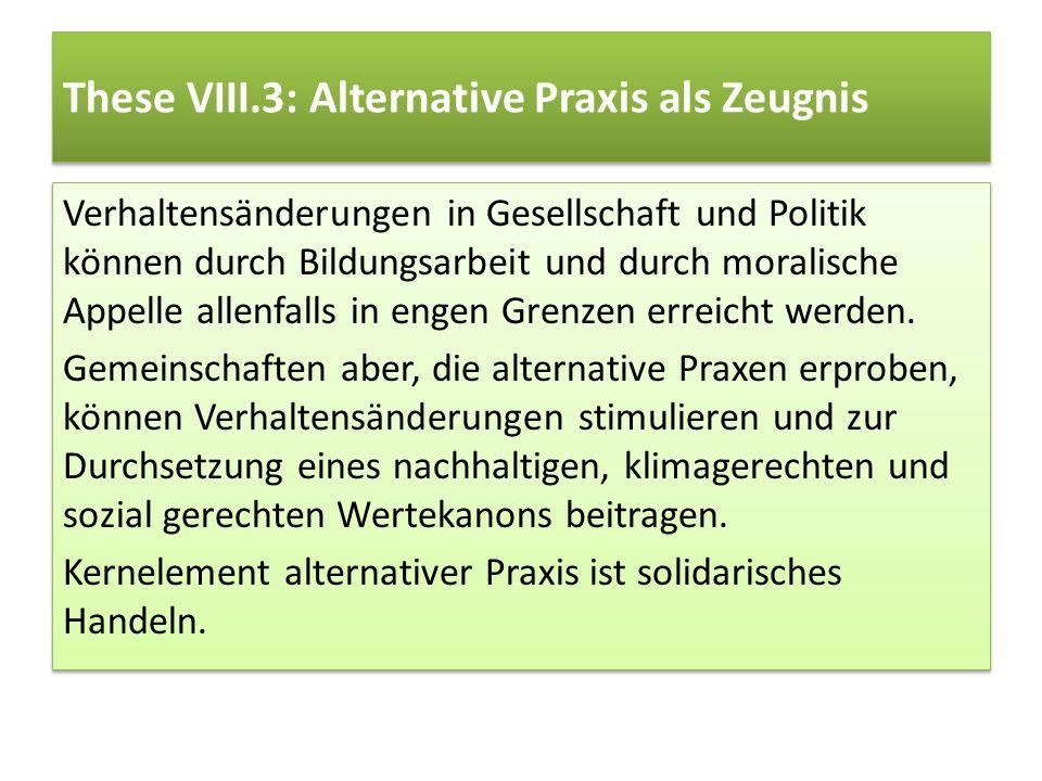 These VIII.3: Alternative Praxis als Zeugnis Verhaltensänderungen in Gesellschaft und Politik können durch Bildungsarbeit und durch moralische Appelle