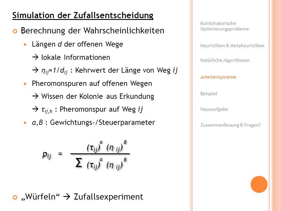 Simulation der Zufallsentscheidung Berechnung der Wahrscheinlichkeiten Längen d der offenen Wege lokale Informationen η ij =1/d ij : Kehrwert der Läng
