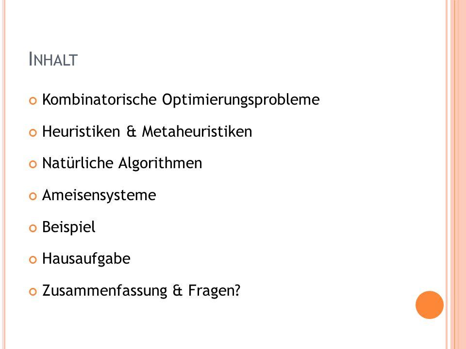 I NHALT Kombinatorische Optimierungsprobleme Heuristiken & Metaheuristiken Natürliche Algorithmen Ameisensysteme Beispiel Hausaufgabe Zusammenfassung