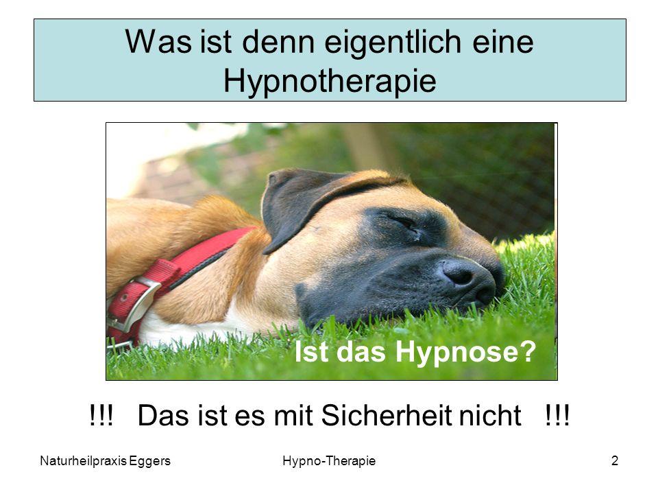 Naturheilpraxis EggersHypno-Therapie13 Hinweise zur Suggestibilität Suggestibilität ist die Voraussetzung dafür, überhaupt in hypnotische Trance zu geraten.