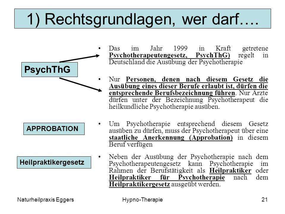 Naturheilpraxis EggersHypno-Therapie21 1) Rechtsgrundlagen, wer darf….