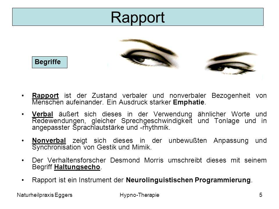 Naturheilpraxis EggersHypno-Therapie5 Rapport Rapport ist der Zustand verbaler und nonverbaler Bezogenheit von Menschen aufeinander.