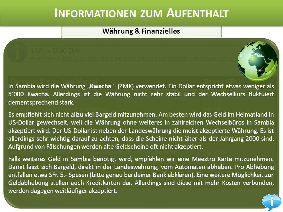 Währung & Finanzielles I NFORMATIONEN ZUM A UFENTHALT 1 SFr.