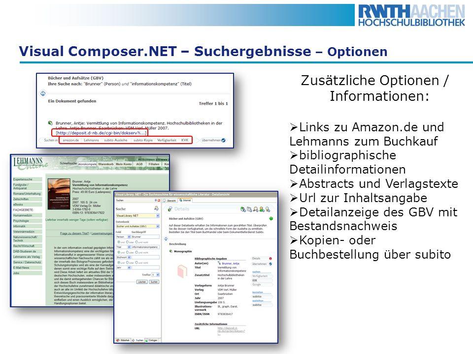 Visual Composer.NET – Suchergebnisse – Optionen Zusätzliche Optionen / Informationen: Links zu Amazon.de und Lehmanns zum Buchkauf bibliographische De