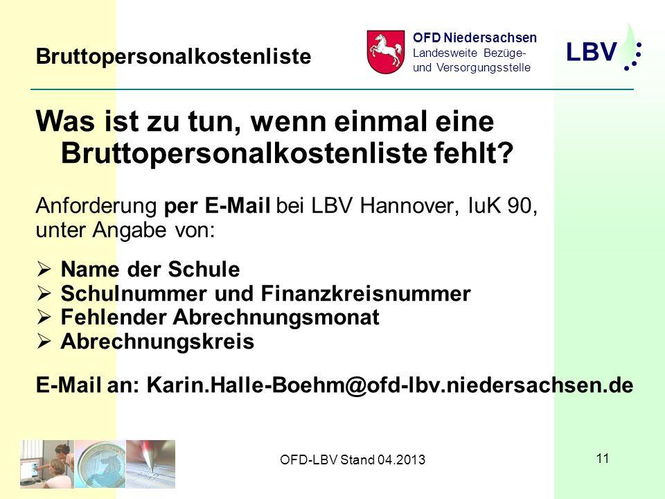 LBV OFD Niedersachsen Landesweite Bezüge- und Versorgungsstelle OFD-LBV Stand 04.2013 11 Bruttopersonalkostenliste Was ist zu tun, wenn einmal eine Bruttopersonalkostenliste fehlt.