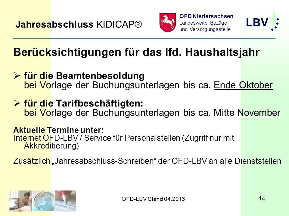 LBV OFD Niedersachsen Landesweite Bezüge- und Versorgungsstelle OFD-LBV Stand 04.2013 14 Jahresabschluss KIDICAP® Berücksichtigungen für das lfd.