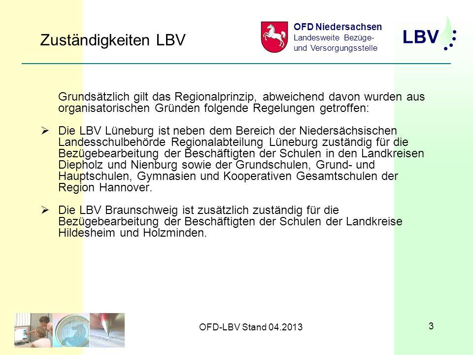 LBV OFD Niedersachsen Landesweite Bezüge- und Versorgungsstelle OFD-LBV Stand 04.2013 3 Zuständigkeiten LBV Grundsätzlich gilt das Regionalprinzip, abweichend davon wurden aus organisatorischen Gründen folgende Regelungen getroffen: Die LBV Lüneburg ist neben dem Bereich der Niedersächsischen Landesschulbehörde Regionalabteilung Lüneburg zuständig für die Bezügebearbeitung der Beschäftigten der Schulen in den Landkreisen Diepholz und Nienburg sowie der Grundschulen, Grund- und Hauptschulen, Gymnasien und Kooperativen Gesamtschulen der Region Hannover.