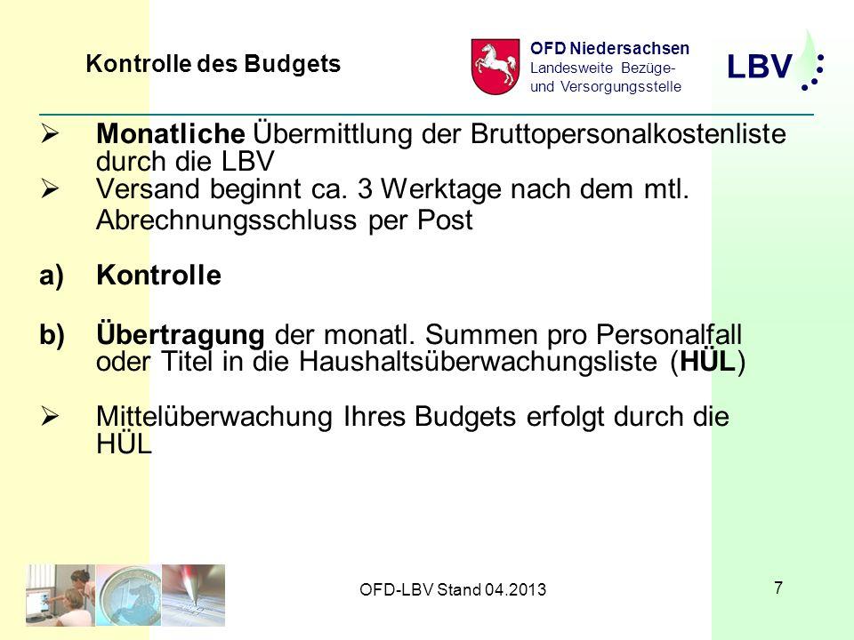 LBV OFD Niedersachsen Landesweite Bezüge- und Versorgungsstelle OFD-LBV Stand 04.2013 7 Monatliche Übermittlung der Bruttopersonalkostenliste durch die LBV Versand beginnt ca.