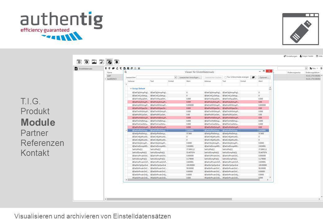 T.I.G. Produkt Module Partner Referenzen Kontakt Visualisieren und archivieren von Einstelldatensätzen