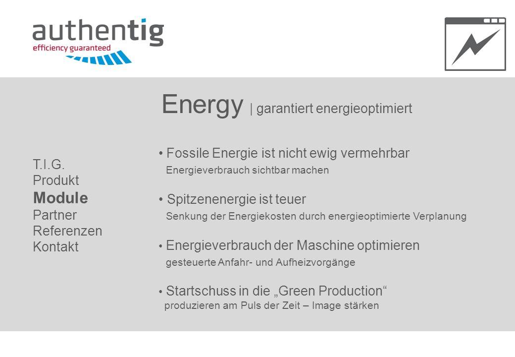 Energy   garantiert energieoptimiert Fossile Energie ist nicht ewig vermehrbar Energieverbrauch sichtbar machen Spitzenenergie ist teuer Senkung der E