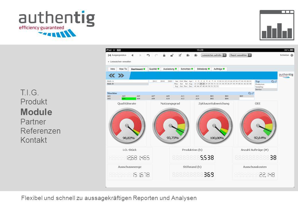 T.I.G. Produkt Module Partner Referenzen Kontakt Flexibel und schnell zu aussagekräftigen Reporten und Analysen