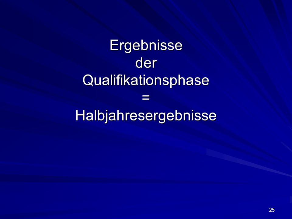 Ergebnisse der Qualifikationsphase = Halbjahresergebnisse 25
