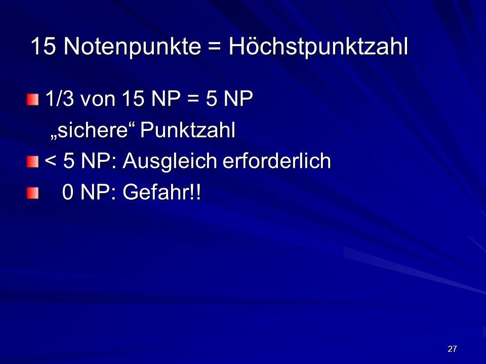 27 15 Notenpunkte = Höchstpunktzahl 1/3 von 15 NP = 5 NP sichere Punktzahl sichere Punktzahl < 5 NP: Ausgleich erforderlich 0 NP: Gefahr!! 0 NP: Gefah