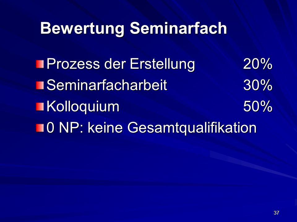 37 Bewertung Seminarfach Prozess der Erstellung20% Seminarfacharbeit30% Kolloquium50% 0 NP: keine Gesamtqualifikation
