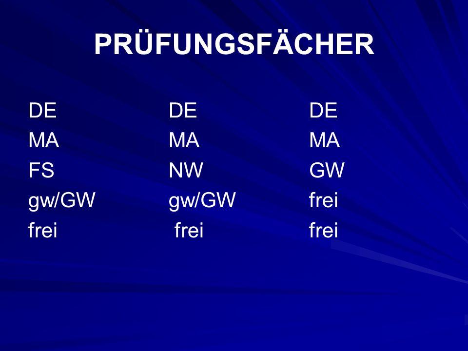 PRÜFUNGSFÄCHER DEDEDE MAMAMA FS NWGW gw/GW gw/GWfrei frei freifrei