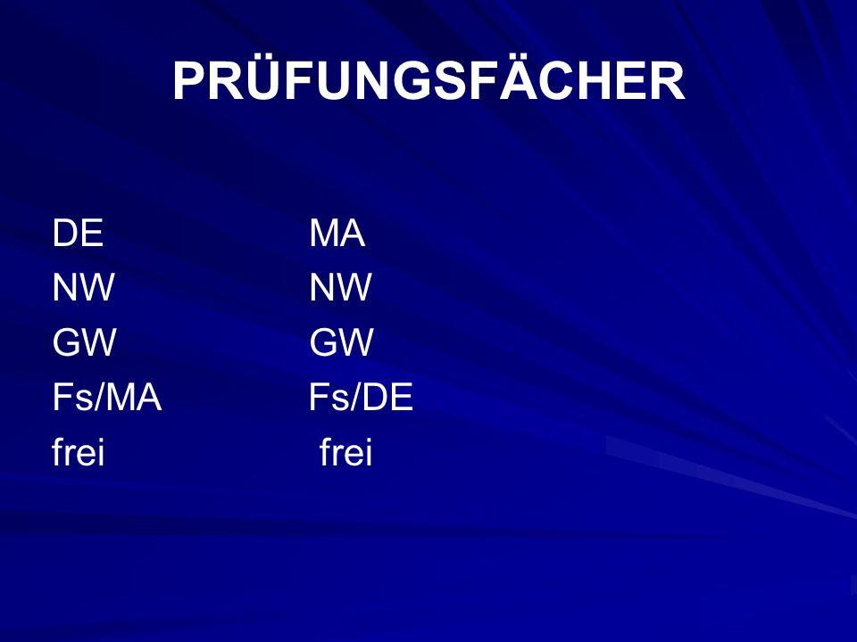 PRÜFUNGSFÄCHER DEMANW GW Fs/MA Fs/DE frei