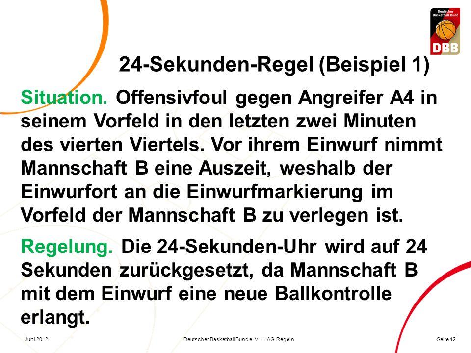 Seite 12Deutscher Basketball Bund e. V. - AG RegelnJuni 2012 24-Sekunden-Regel (Beispiel 1) Situation. Offensivfoul gegen Angreifer A4 in seinem Vorfe
