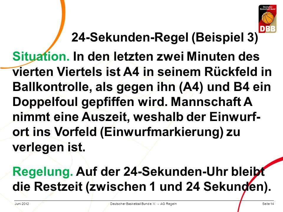 Seite 14Deutscher Basketball Bund e. V. - AG RegelnJuni 2012 Situation. In den letzten zwei Minuten des vierten Viertels ist A4 in seinem Rückfeld in