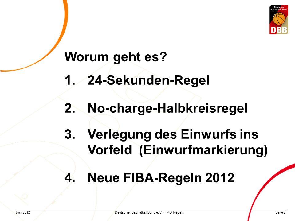 Seite 2Deutscher Basketball Bund e. V. - AG RegelnJuni 2012 Worum geht es? 1.24-Sekunden-Regel 2.No-charge-Halbkreisregel 3.Verlegung des Einwurfs ins