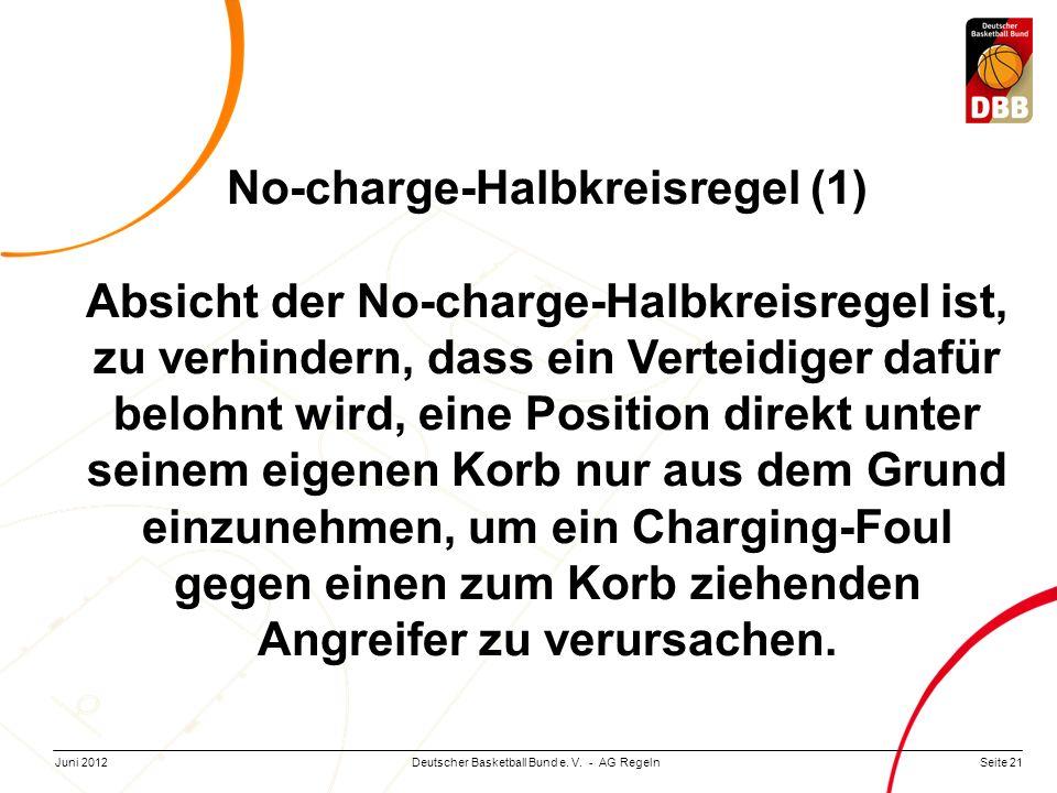 Seite 21Deutscher Basketball Bund e. V. - AG RegelnJuni 2012 No-charge-Halbkreisregel (1) Absicht der No-charge-Halbkreisregel ist, zu verhindern, das