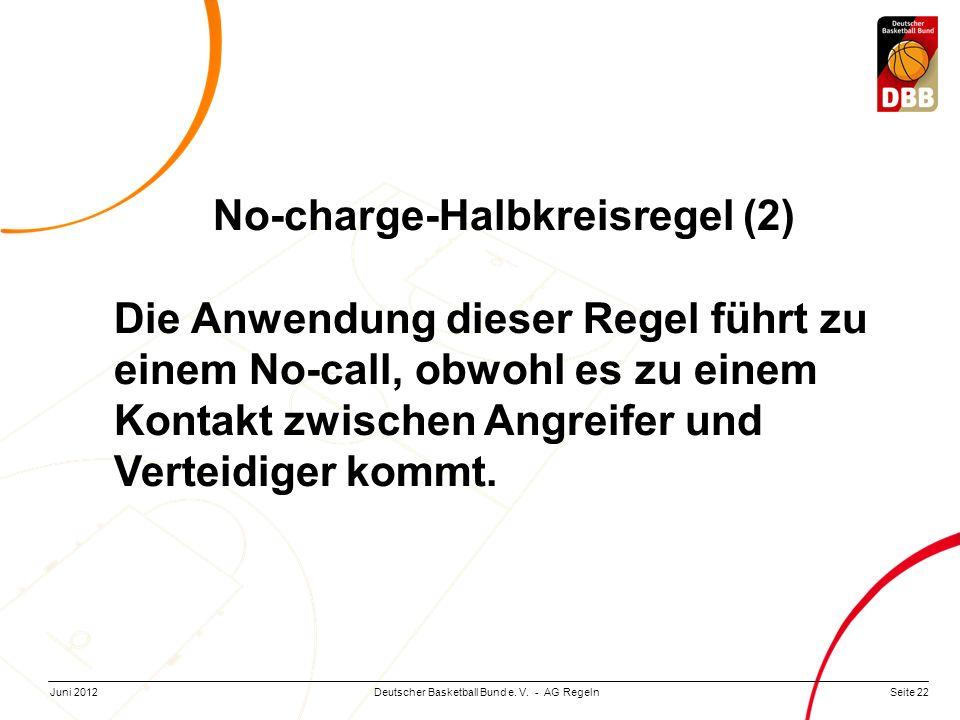Seite 22Deutscher Basketball Bund e. V. - AG RegelnJuni 2012 No-charge-Halbkreisregel (2) Die Anwendung dieser Regel führt zu einem No-call, obwohl es