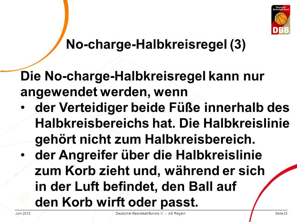 Seite 23Deutscher Basketball Bund e. V. - AG RegelnJuni 2012 No-charge-Halbkreisregel (3) Die No-charge-Halbkreisregel kann nur angewendet werden, wen