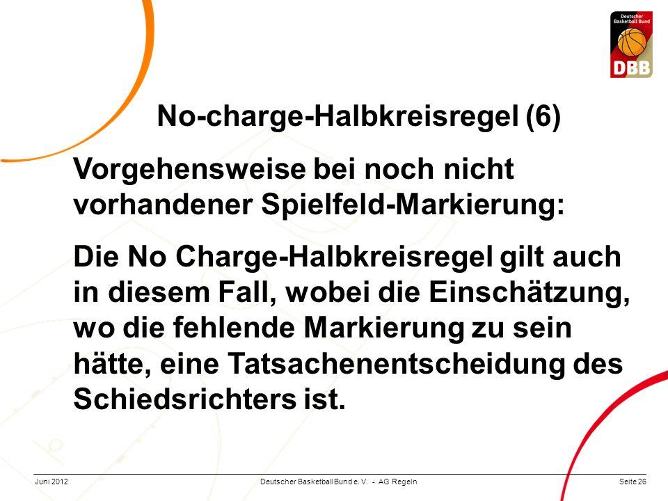 Seite 26Deutscher Basketball Bund e. V. - AG RegelnJuni 2012 No-charge-Halbkreisregel (6) Vorgehensweise bei noch nicht vorhandener Spielfeld-Markieru