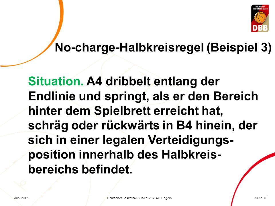 Seite 30Deutscher Basketball Bund e. V. - AG RegelnJuni 2012 Situation. A4 dribbelt entlang der Endlinie und springt, als er den Bereich hinter dem Sp