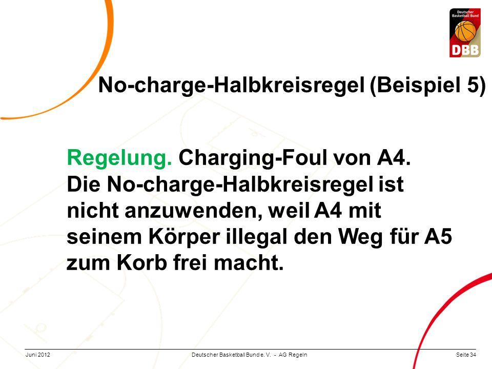 Seite 34Deutscher Basketball Bund e. V. - AG RegelnJuni 2012 Regelung. Charging-Foul von A4. Die No-charge-Halbkreisregel ist nicht anzuwenden, weil A