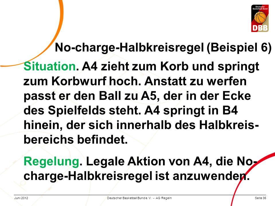 Seite 35Deutscher Basketball Bund e. V. - AG RegelnJuni 2012 Situation. A4 zieht zum Korb und springt zum Korbwurf hoch. Anstatt zu werfen passt er de
