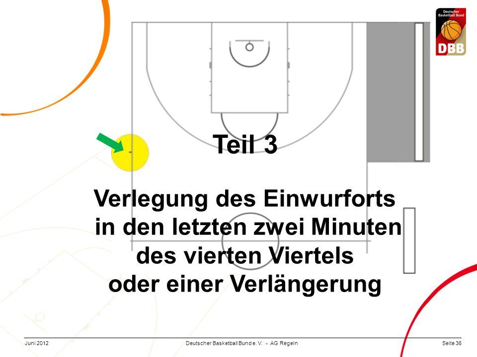 Seite 36Deutscher Basketball Bund e. V. - AG RegelnJuni 2012 Teil 3 Verlegung des Einwurforts in den letzten zwei Minuten des vierten Viertels oder ei