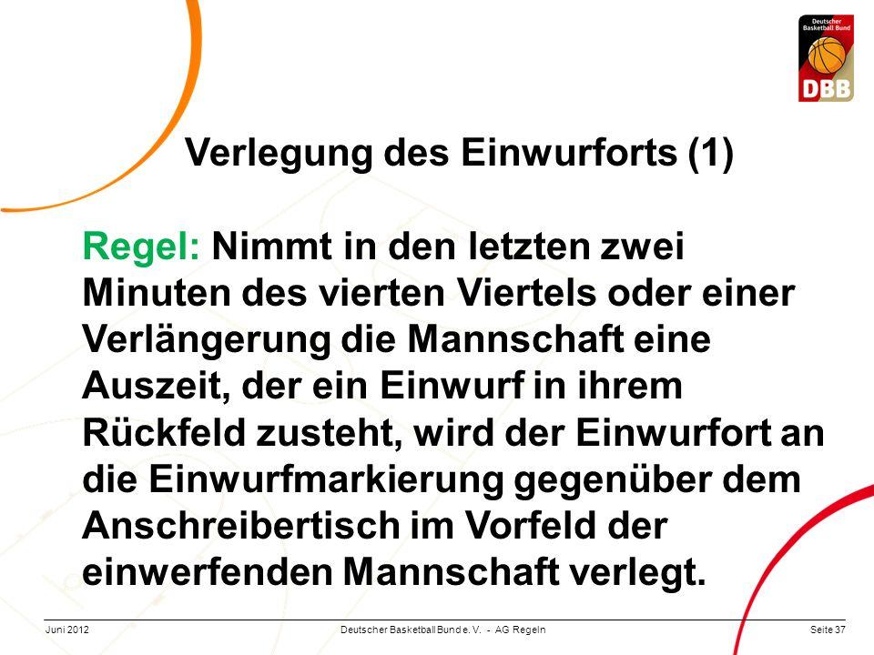 Seite 37Deutscher Basketball Bund e. V. - AG RegelnJuni 2012 Verlegung des Einwurforts (1) Regel: Nimmt in den letzten zwei Minuten des vierten Vierte