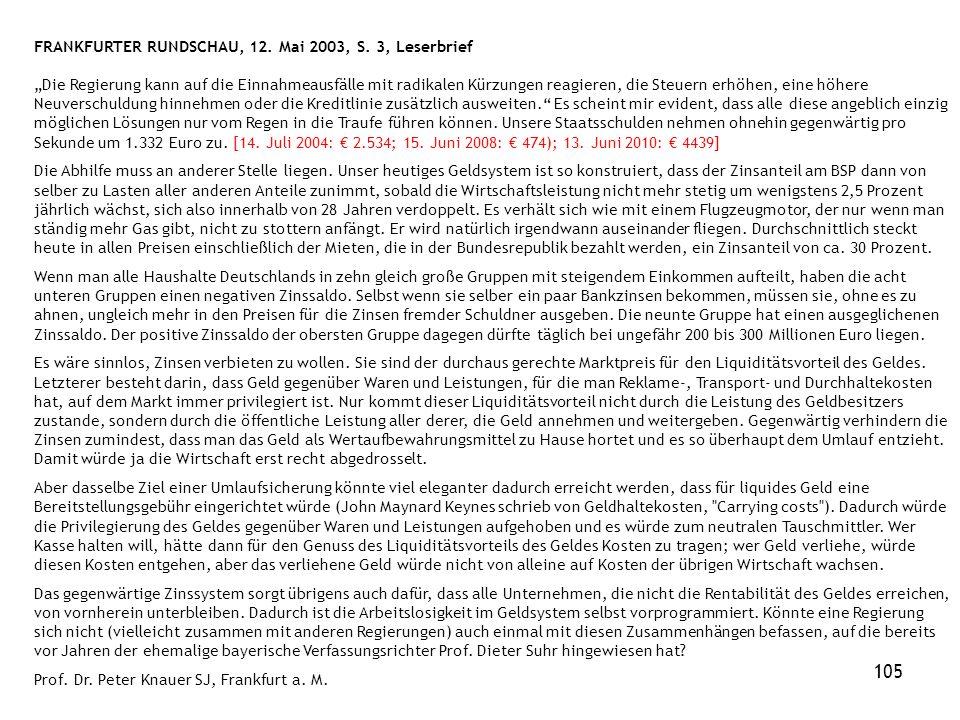 105 FRANKFURTER RUNDSCHAU, 12. Mai 2003, S.