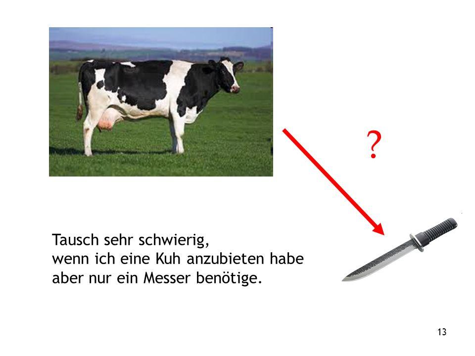 13 Tausch sehr schwierig, wenn ich eine Kuh anzubieten habe aber nur ein Messer benötige.