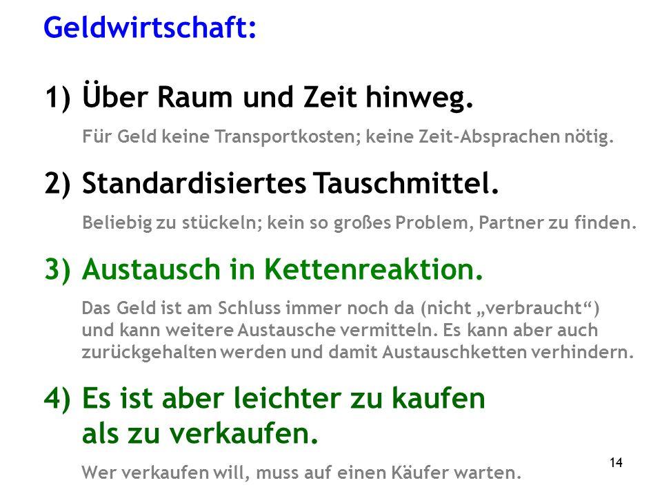 14 Geldwirtschaft: 1)Über Raum und Zeit hinweg.
