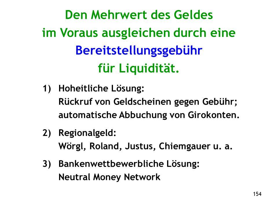 154 Den Mehrwert des Geldes im Voraus ausgleichen durch eine Bereitstellungsgebühr für Liquidität.
