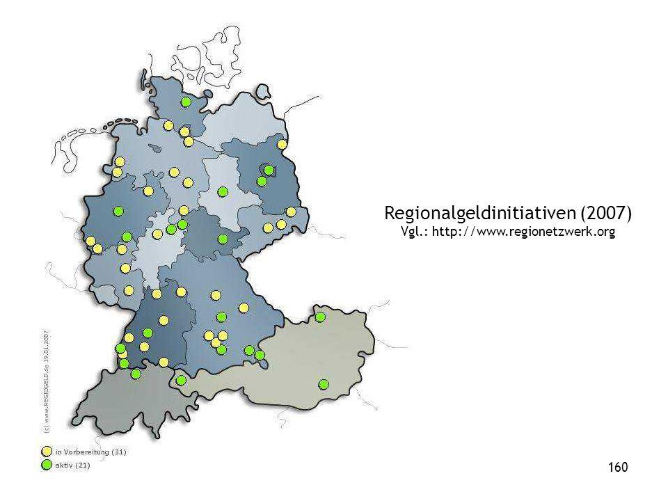 160 Regionalgeldinitiativen (2007) Vgl.: http://www.regionetzwerk.org