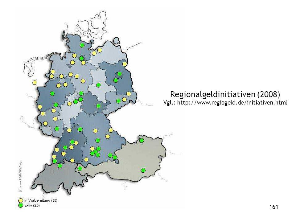 161 Regionalgeldinitiativen (2008) Vgl.: http://www.regiogeld.de/initiativen.html