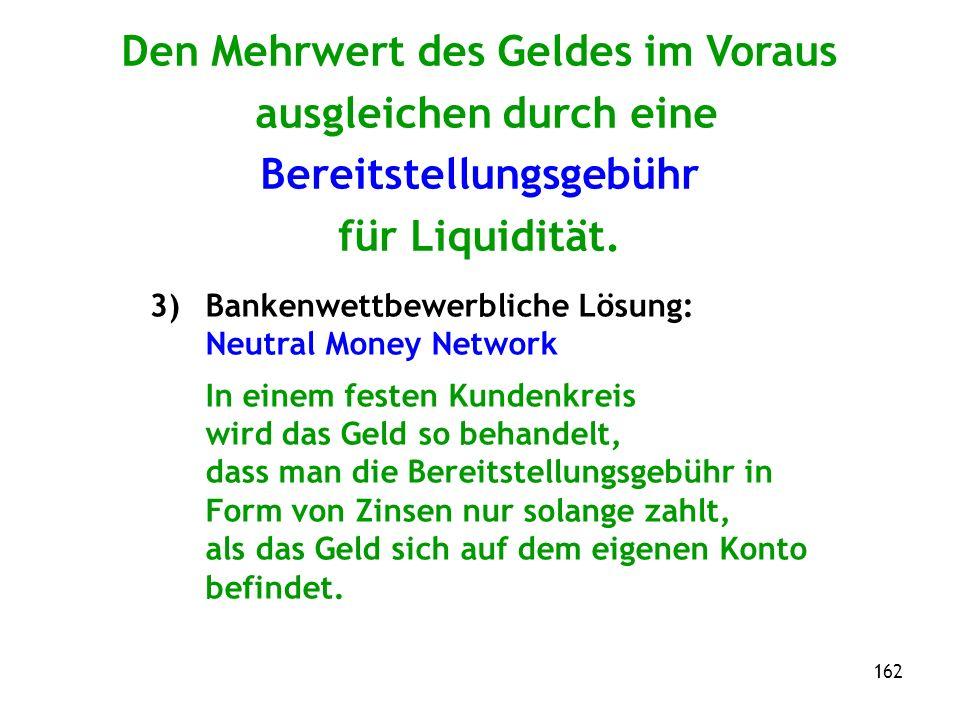 162 Den Mehrwert des Geldes im Voraus ausgleichen durch eine Bereitstellungsgebühr für Liquidität.