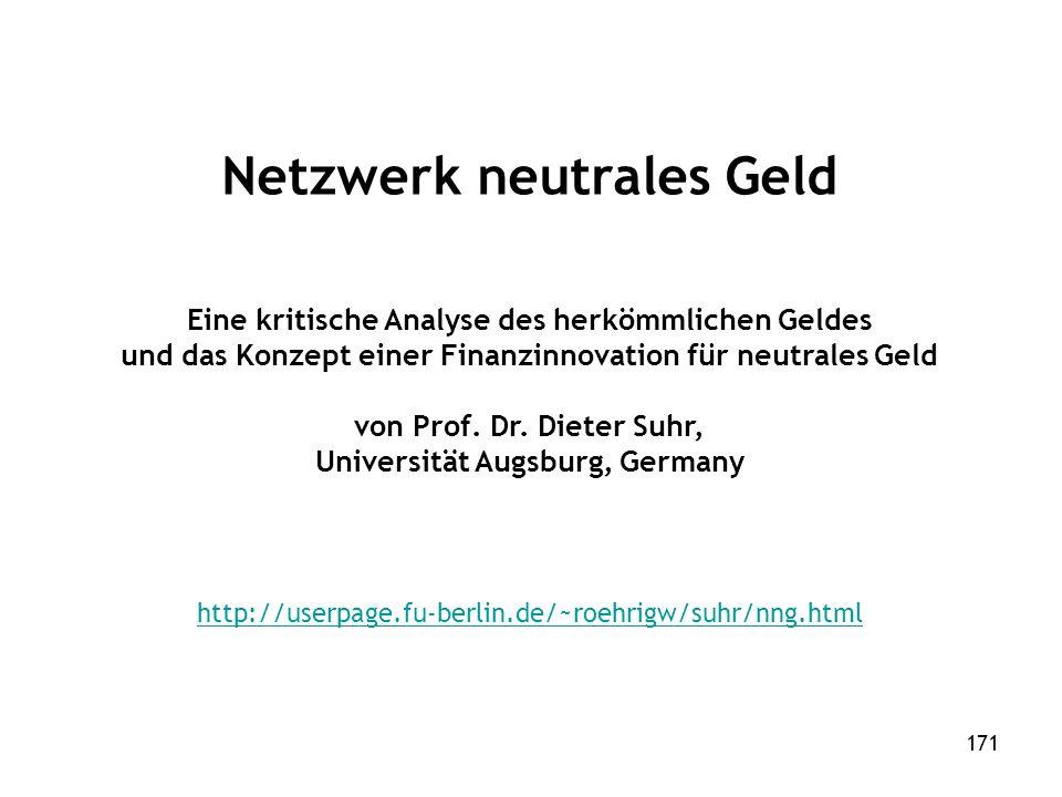 171 Netzwerk neutrales Geld Eine kritische Analyse des herkömmlichen Geldes und das Konzept einer Finanzinnovation für neutrales Geld von Prof.