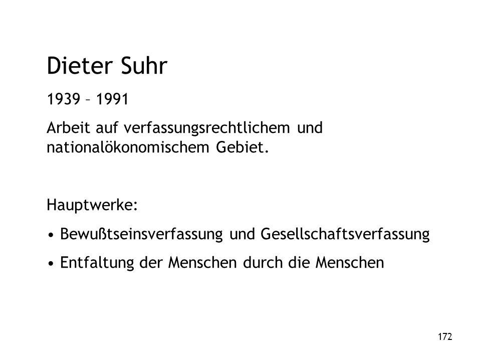 172 Dieter Suhr 1939 – 1991 Arbeit auf verfassungsrechtlichem und nationalökonomischem Gebiet.