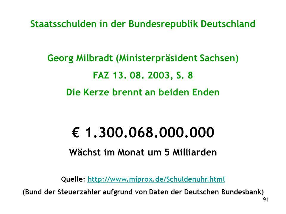 91 Staatsschulden in der Bundesrepublik Deutschland Georg Milbradt (Ministerpräsident Sachsen) FAZ 13.