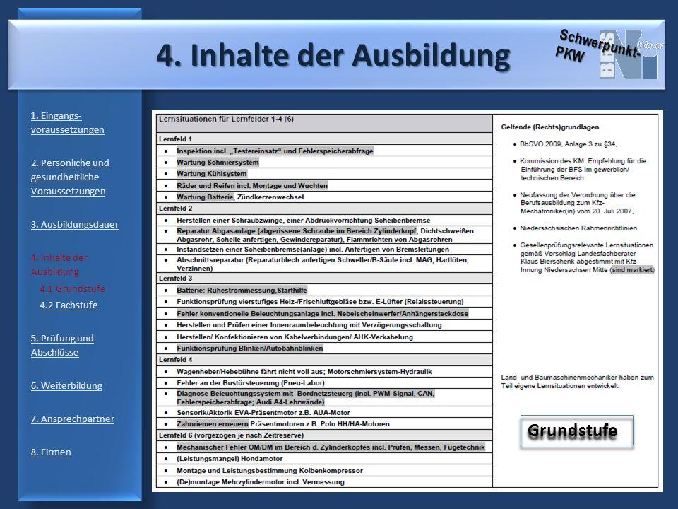 4. Inhalte der Ausbildung 4. Inhalte der Ausbildung 1. Eingangs- voraussetzungen 2. Persönliche und gesundheitliche Voraussetzungen 3. Ausbildungsdaue
