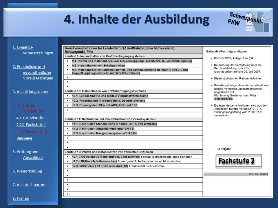 4.Inhalte der Ausbildung 4. Inhalte der Ausbildung 1.