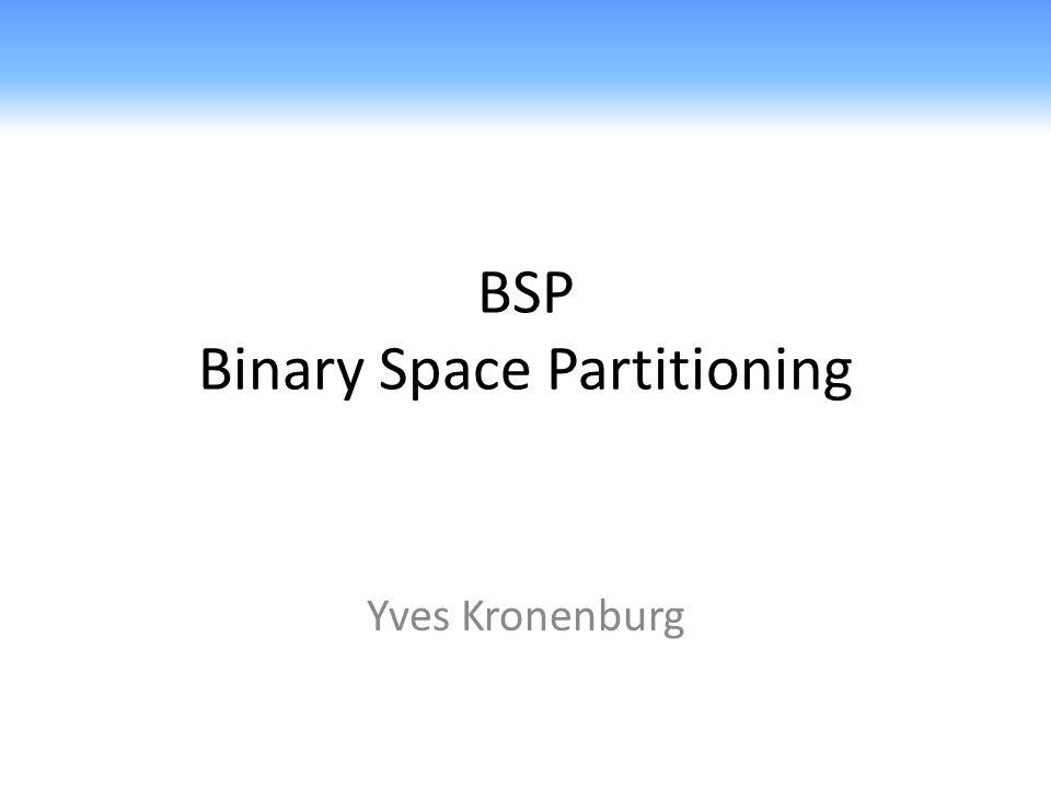 Binary Space Partitioning - BSP BSP Trees 2D Algorithmus 2dRandomBsp(S) 1.Erzeuge aus der Menge S eine zufällige Permutation S = s 1,…, s n 2.T 2dBsp(S) 3.return T