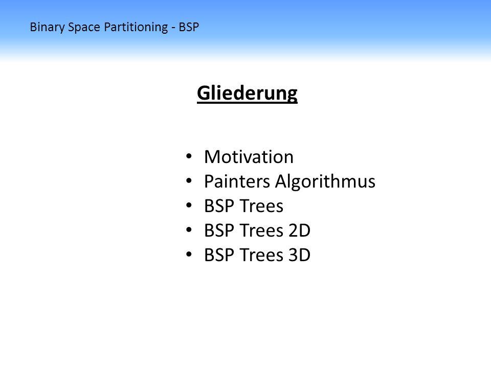 Binary Space Partitioning - BSP BSP Trees 2D Abschätzung der Fragmente Sei s i das nächste Segment welches vom Algorithmus als neue Trennlinie benutzt wird.